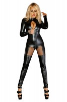 schwarzes Wetlook Queen Catsuit F136 von Noir Handmade Diva Collection