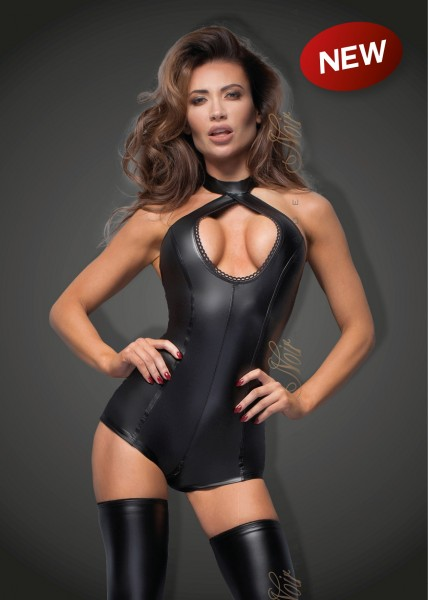 Noir Handmade F169 Powerwetlook Body mit Spitzen-Ausschnitt Bitch Collection
