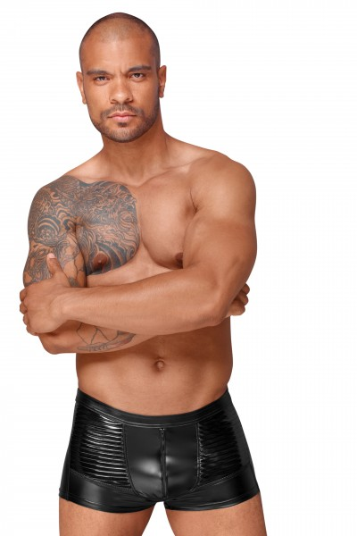 Powerwetlook Shorts mit dekorativen PVC Zierfalten H054 von Noir Handmade Decadence Collection